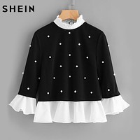 Ladies Frilly Trim Pearl Embellished Top Womens Black and White Contrast Collar Three Quarter Length Flare Sleeve Blouse FREE SHIPPING