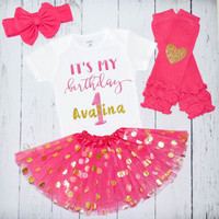 Birthday Tutu Outfit Shirt Set 1st birthday Onesuit Personalized Onesuit 1 2 3 4 5