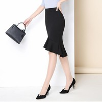 Womens Midi Skirt  Mermaid Side Buttons High Waist Work Office Business Casual Party Bodycon Pencil Skirt