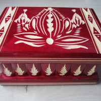 Wooden Puzzle Secret Jewelry Box w Secret Compartment Red Dracula Themed NEW