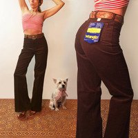 "Unworn Vintage 70s Wrangler Corduroy Bellbottoms Dead Stock 1970's Size 28-29 Rare Bell Bottoms ||High Waisted Brown Pants 32"" or 34"" Length"