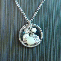 Full Moon White Gemstones Dangle Disc Pendant Necklace in Sterling Silver - Genuine White Gemstones on Hammered Silver Disk - Nickel Free