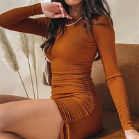 Autumn And Winter Cotton Women'S Clothes Sexy Pit Long-Sleeve Drawstring Sexy Adjustable Mini Dress