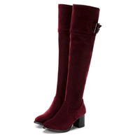 Sexy Thigh High Velvet Buckle Boots