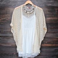 fringe crochet cardigan - natural