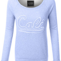 LE3NO Womens Lightweight Terry Cloth Cali Print Boat Neck Raglan Pullover Sweater