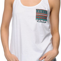 Sirens & Dolls Tribal Pocket White Racerback Tank Top