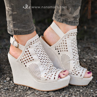 You Don't Belong Cut Out Suede Wedges (Cream)