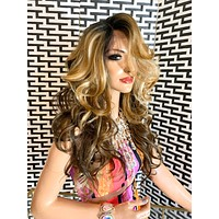 Medium brown blonde balayage 27/4/613 layered BANGS lace front wig in 18 inches Natural highlights 820