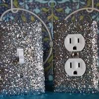 SET Of Chunky SILVER Glitter Swichplate Outlet Covers ANY Styles
