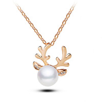 Gold Small Reindeer Horn Fake Pearl Necklace