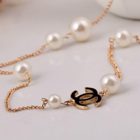 iOffer: gold plated long necklace 2 layers in white or black for sale