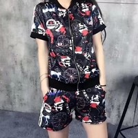 Women Casual Fashion Print Short Sleeve Shorts Set Two-Piece Sportswear