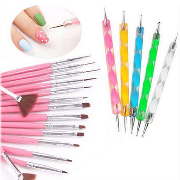 Nail Art 20PCS UV Gel Design Pen Painting Brush PINK Set for Salon Manicure Tips Tool