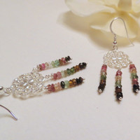 Chandelier Earrings with Watermelon Tourmaline and Sterling Silver, Smokeylady54