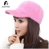 ONETOW AGIPHA Women Baseball Caps With Warm And Soft Rabbit Fur Solid And Adjustable Nylon Fastener Tape Hat One Good Hat Rack As Gift