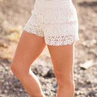 Summer Of 69 Crochet Lace Shorts (Ivory)