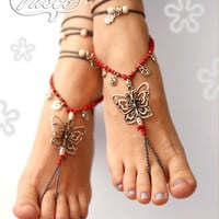 Butterfly Barefoot Sandals. Bellydance Shoes, Gypsy Shoes