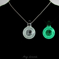 Glass Pendant - Space Scrying Glass - Glow in the Dark