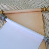 Blank scroll with gift box for your handwritten wedding vows, letter, invitation or thank you
