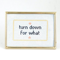 "turn down for what - Lil Jon Lyrics framed cross stitch | 5""x7"" 