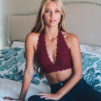 Lace Halter Top Bralette in Berry