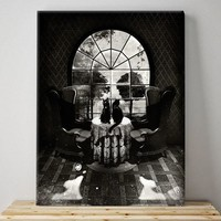 Skull Canvas Print, Sugar Skull Wall Art,Room Skull Illustration Canvas Home Decor B&W