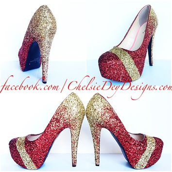 Gold Glitter High Heels, Red Ombre Sparkly Platform Prom Pumps, Wedding Shoes