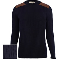 River Island MensNavy quilted shoulder patch rib sweater