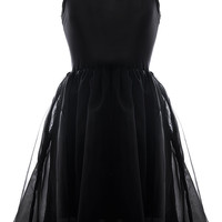 Black Spaghetti Strap Mesh Overlay Pleated Mini Dress