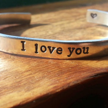 I love you , I love you more,  I love you most bracelets, choose one aluminum  1/4 inch wide