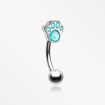 Adorable Paw Print Opalescent Sparkle Curved Barbell