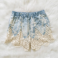 Eve Sky Blue Crochet Trim Shorts