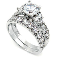 Sterling Silver Wedding Ring Set with Simulated Diamond CZ Engagement Ring and Band size 4-11