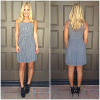 Sweet Glimmer Sequin And Bead Dress - GREY