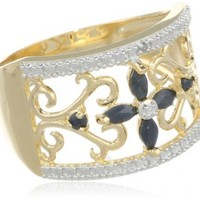 Yellow Gold-Plated Sterling Silver Sapphire Flower Ring