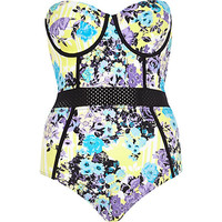 River Island Womens Purple floral mesh insert swimsuit