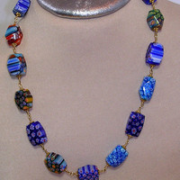Blue Millefiori Glass Bead Ensemble- Wire Wrapped  Necklace, Bracelet & Matching Earrings