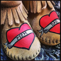 Custom Painted Mom and Dad Tattoo Heart Baby Moccasins