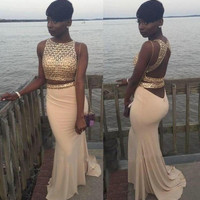 African Mermaid Long Open Back Women Formal Gowns For Party Real Picture Champagne 2/Two Piece Prom Dresses With Gold Sequined