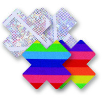 Rainbow and Silver Pride Cross Pasties (2-Pack)