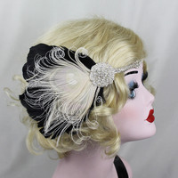 Bridal Head Piece, 1920's Flapper, Great Gatsby, Ivory White Peacock Feather Headband, Crystal Head Dress,