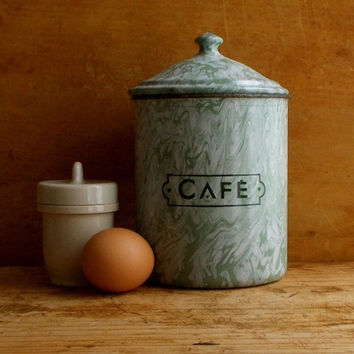 Vintage French Enamel Coffee Canister, Green Enamelware, Graniteware, Paris Flea Market