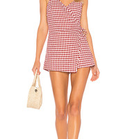 by the way. Scotty Wrap Romper in Red Gingham   REVOLVE
