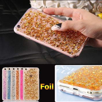 Luxury Gold Foil Bling Glitter Clear Soft TPU Case For iPhone 7 & 7 Plus SE 5 5S 6 6S Plus SE 5 5s Case Silicone Back Cover