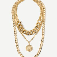 Coin Pendant Layered Thick Chain Necklace