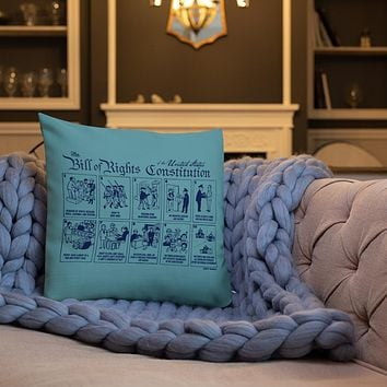 Bill of Rights Blue Throw Pillow