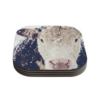 "Debbra Obertanec ""Snowy Cow"" Black White Coasters (Set of 4)"