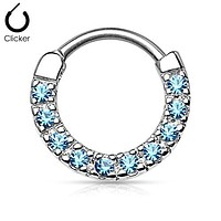 CZ Paved Round Top 316L Surgical Steel Nose WildKlass Septum/Ear Cartilage Clicker Rings