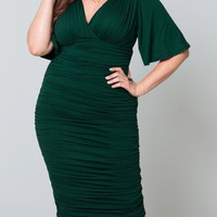 V-Neck Half Sleeve Draped Bodycon Dress